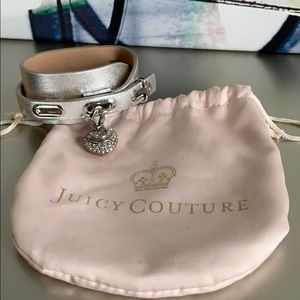 Juicy Couture Silver Faux Leather Adjustable Cuff